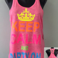 Racer tank w/ laced back- Keep Calm And Party On