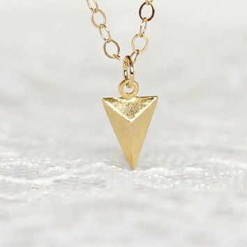 Gold triangle necklace, Gold filled chain, Geometric jewelry, Modern minimalist jewelry for everyday, Simple jewelry by Pastel