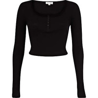 Black rib long sleeve crop top