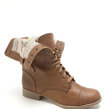 Black Poppy Fold Down Military Boots at PacSun.com