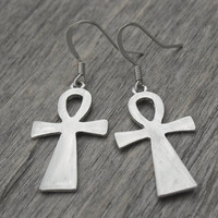 Ankh Earrings, Ankh Jewelry, Egyptian Cross, Egypt, Egyptian Jewelry, Silver Ankh Earrings, Gothic, Goth, Egyptian, Ancient Egypt,