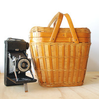 Vintage Picnic Basket Woven Wicker Bamboo Summer Outdoor Entertaining