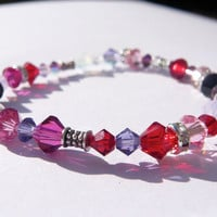 Swarovski Crystal Bracelet  Pink Purple by SeiMai on Etsy