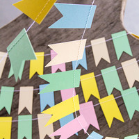 Pastel paper garland bunting, wedding garland decor, flag bunting, flag garland, party home decor, nursery banner