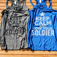 Keep Calm & Love Your Soldier - Women's Glitter Tank