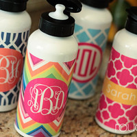 water bottle  customizable pattern and monogram  by rougeandco