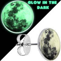 Moon Glow in the Dark Stud Earrings | Body Candy Body Jewelry