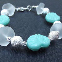 Beach Bracelet:  Turquoise Green Nautilus Shell and White Sea Glass with Silver Stardust Ocean Resort Jewelry