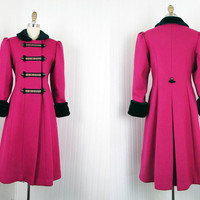 1970s Coat - Vintage 70s Princess Coat Wool Faux Fur Raspberry Cobalt Military S - Drumbeats