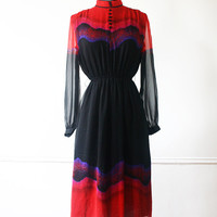 Vintage Japanese Dress// 1970s Dress// Aurora Cosmic Dress// Red Black Dress// Japan xs - s