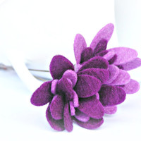 Felt purple flower brass hat pin brooch