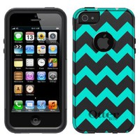 Otterbox Commuter Series Chevron Turquoise and White Pattern Hybrid Case for iPhone 5
