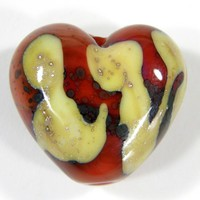 Heart Bead Coral Orange Handmade Lampwork Glass Bead Abstract