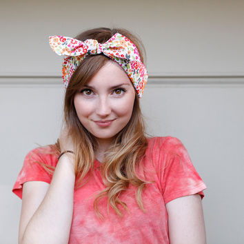 Tie Up headband  in summer floral print by BglorifiedBoutique