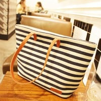 Navy Style Striped Shoulder Bag