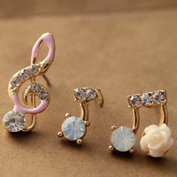 Music Notes Rhinestone Earrings Set