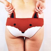 Panties with a fox face and ears lingerie by knickerocker on Etsy