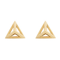 Noor Fares Tetrahedron Stud Earrings - Gold Stud Earrings - ShopBAZAAR