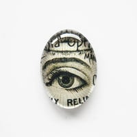 25x18mm handmade glass cabochon - antique eye illustration