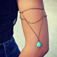 armlet turquoise drop, upper arm chain, body chain, unique jewelry