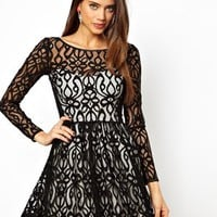 Lipsy Lace Skater Dress at asos.com