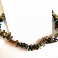 Tiger Eye (Tiger's Eye) Chip Bead Anklet Ankle Bracelet Stretch Cord
