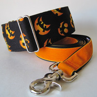 Halloween Martingale Collar and Leash, 2 Inch Martingale Collar, Orange Martingale Collar, Pumpkins, Greyhound Collar, Halloween Dog Collar