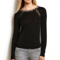 Armani Exchange Womens Embellished Neck Sweater:Amazon:Clothing