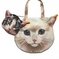 LookbookStore Women Cute 3D Kitty Pussy Cat Head PrintedBag Purse Shoulder Bag Handbag Accompany With Small Bag:Amazon:Clothing