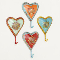 Painted Heart Hooks, Set of 4 | World Market
