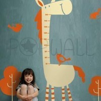 Kids Fun Grow Chart Tall Horse with Birds Vinyl Wall by NouWall