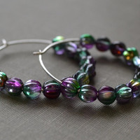 Peacock Glass Hoop Earrings Sterling Silver by leprintemps on Etsy