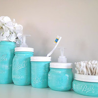 Painted Mason Jars, Bathroom Decor, Bathroom Accessories, Gift Set, Housewares, Home Decor