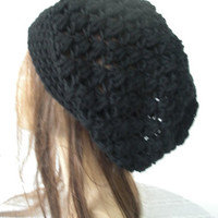 Slouchy  Hat- Crochet Hat -  Crochet Beanie Hat  - Womens hat - chunky knit   Black  Beanie  Fall Winter Accessories  Autumn Fashion