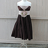 Bandeau Women's Upcycled Dress / Romantic Gypsy Clothing / Sash Belt / Junior Clothes / Praire Chic