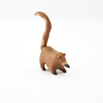 coati miniature polymer clay coati figurine pocket totem