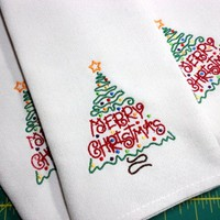 Napkins Four Red Merry Christmas Cloth Embroidered Holiday Decorating