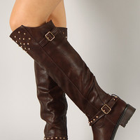 Elga-04 Studded Spike Buckle Riding Thigh High Boot
