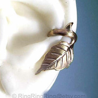 Rose leaf with thorn ear cuff earring jewelry by RingRingRing