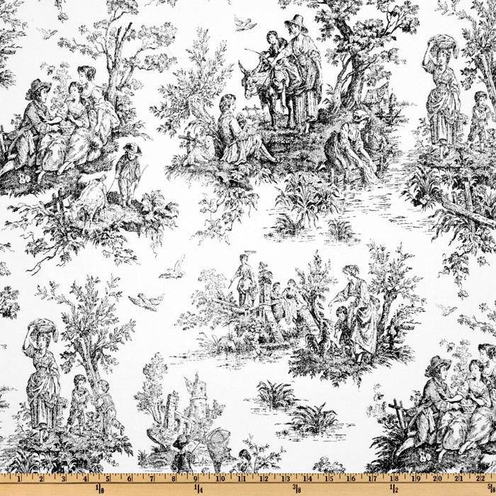 Premier Prints Colonial Toile Black White Discount Designer Fabric
