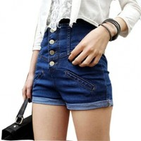 Allegra K Lady Button Closure High Rise Fake Pocket Front Shorts Jeans:Amazon:Clothing