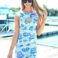 White and Blue Floral Print Bodycon Dress with Cutout Detail