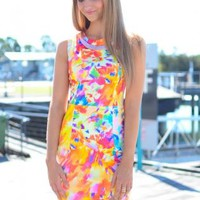Multi Color Watercolor Print Dress with High Scoop Neckline