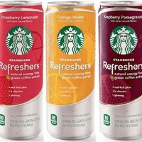 Starbucks Refreshers 12 Oz 12 Pack 4 Respberry Pomegrante, 4 Strawberry Lemonade, 4 Orange Melon:Amazon:Grocery & Gourmet Food