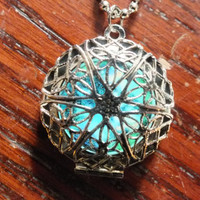 Silver Plated Filigree Glow In The Dark Celtic Galaxy Locket Necklace