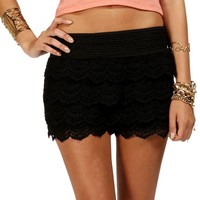 Black Pull On Crochet Short