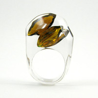 Brown Crystal Ring, Clear Resin Ring with Two Teardrops Amber Chocolate Zirconia, Modern Jewelry