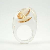 Peach Crystal Ring, Clear Resin Ring with Two Teardrops Warm Amber Zirconia, Modern Jewelry
