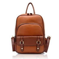 Vintage Leather Backpack School Bag