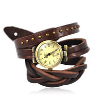 Unisex Leather Wrap Watch Color Dark Brown